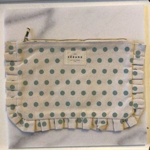 NEW Sezane Canvas Dot Cosmetic Zippered Bag
